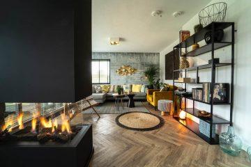 intérieur maison salon cheminée